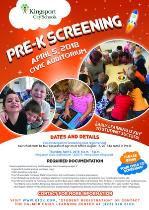 3-31 2018 Pre-K Screening Flyer (April 5)
